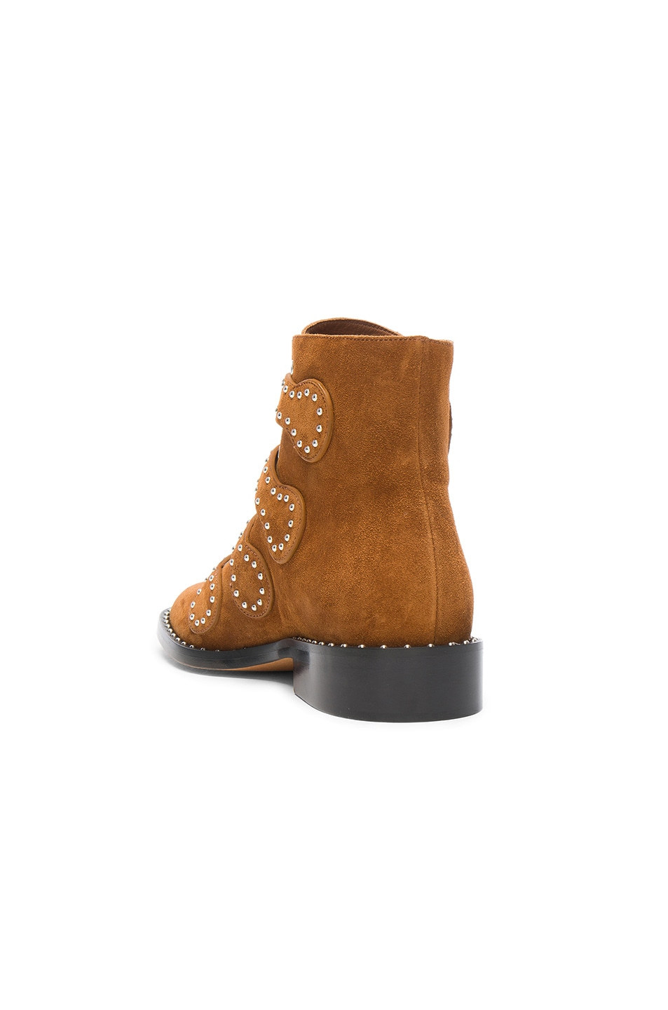 Image 3 of Givenchy Elegant Studded Suede Ankle Boots in Caramel