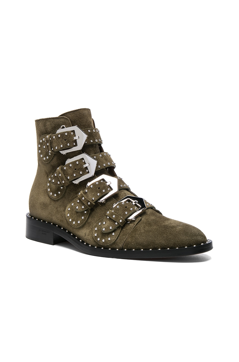 Image 2 of Givenchy Elegant Studded Suede Ankle Boots in Khaki