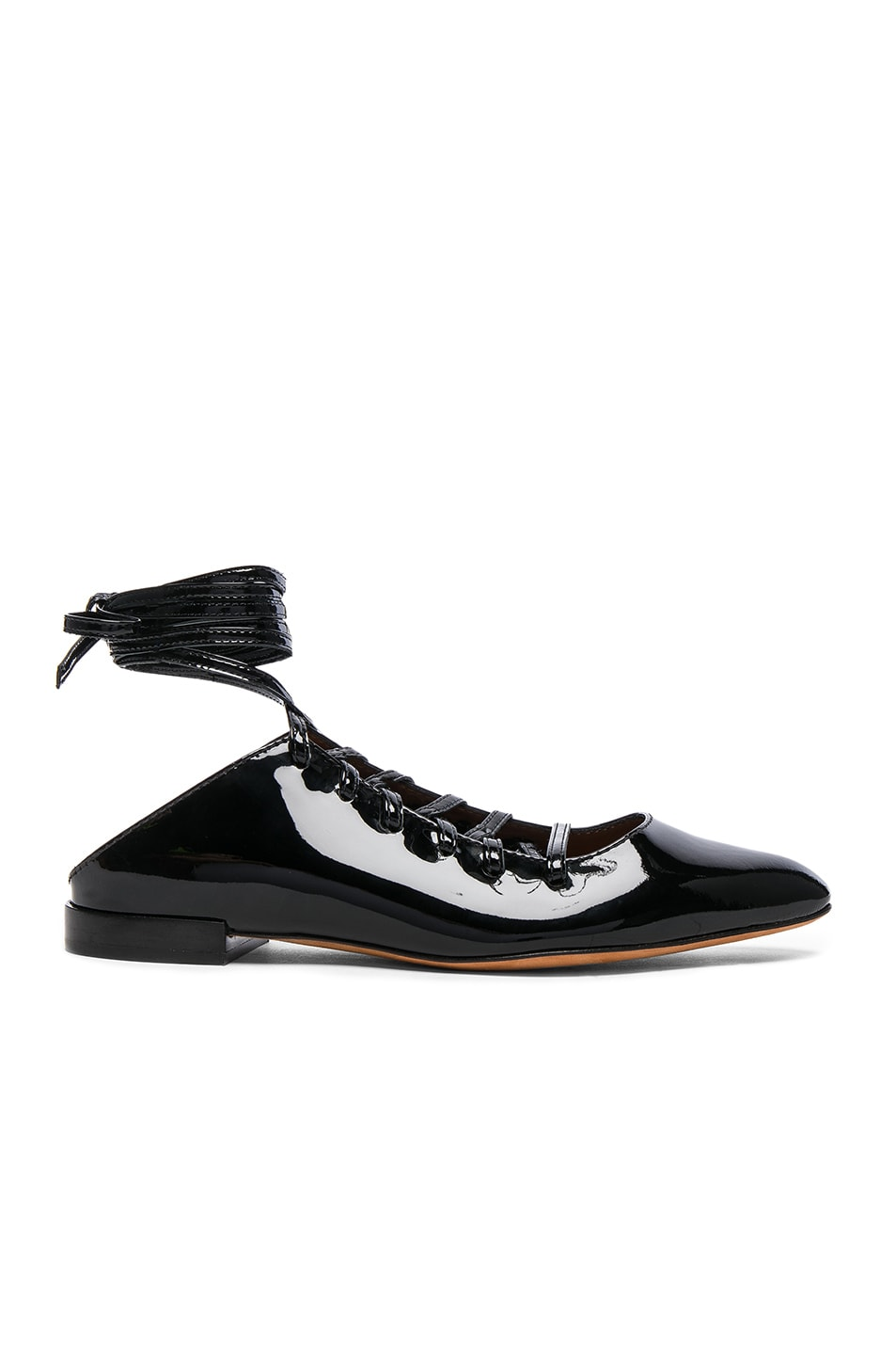 Image 1 of Givenchy Patent Leather Lace Up Mules in Black