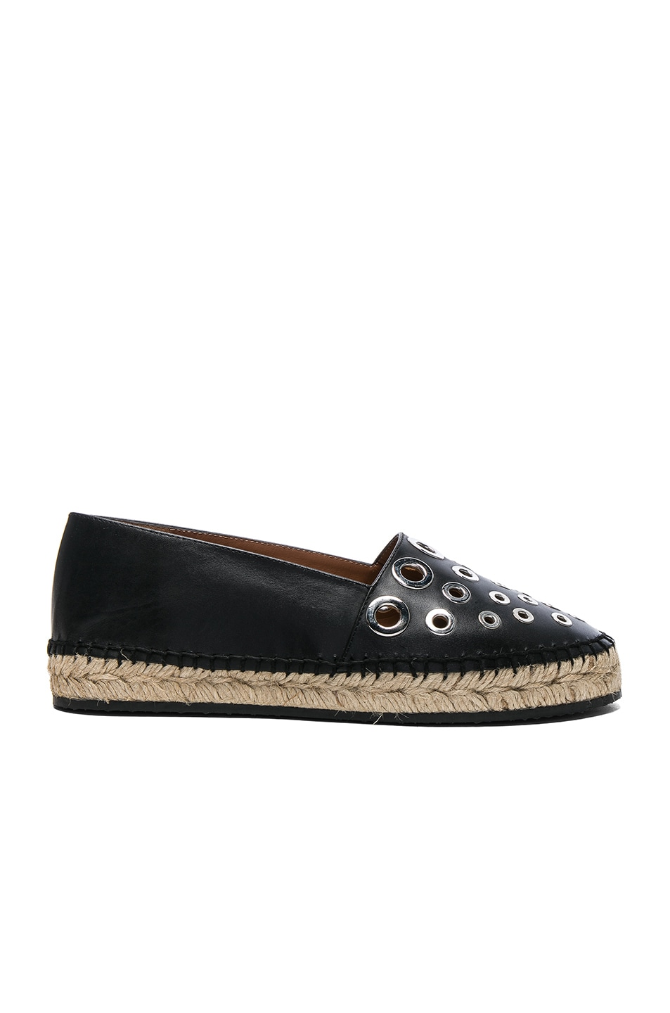 Image 1 of Givenchy Studded Leather Flat Espadrilles in Black