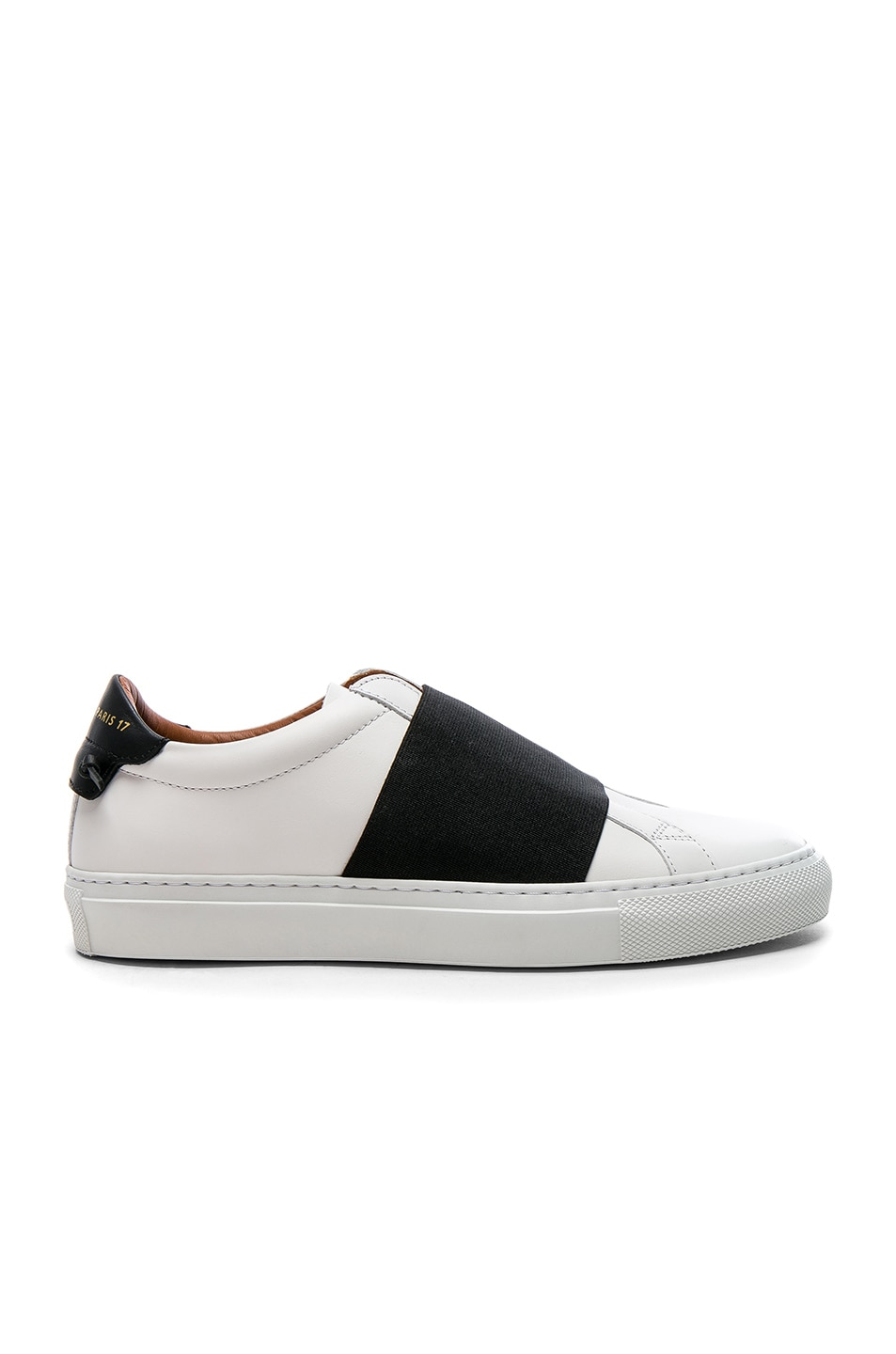 Image 1 of Givenchy Leather Urban Street Elastic Strap Low Sneakers in Black & White