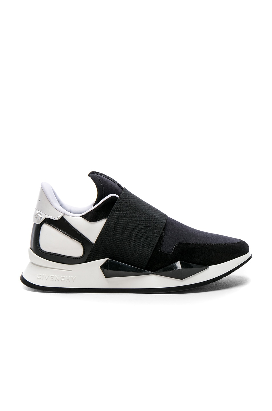 Runner Elastic Leather And Suede-Paneled Neoprene Sneakers, Black