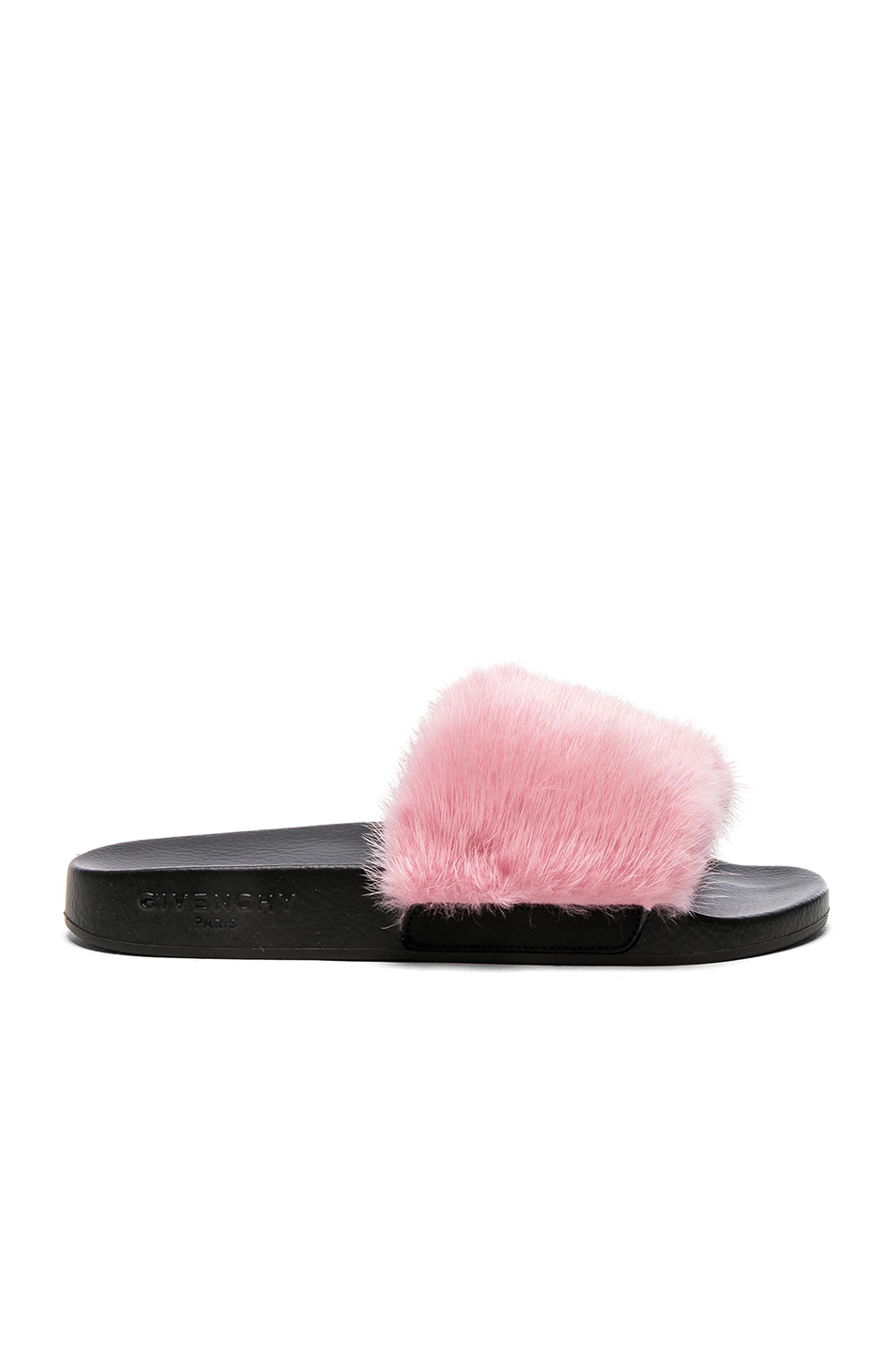 Image 1 of Givenchy Mink Fur Slides in Bright Pink