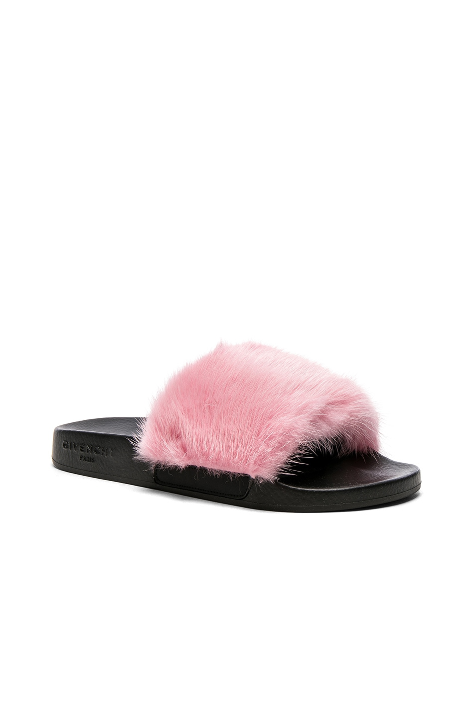 Image 2 of Givenchy Mink Fur Slides in Bright Pink