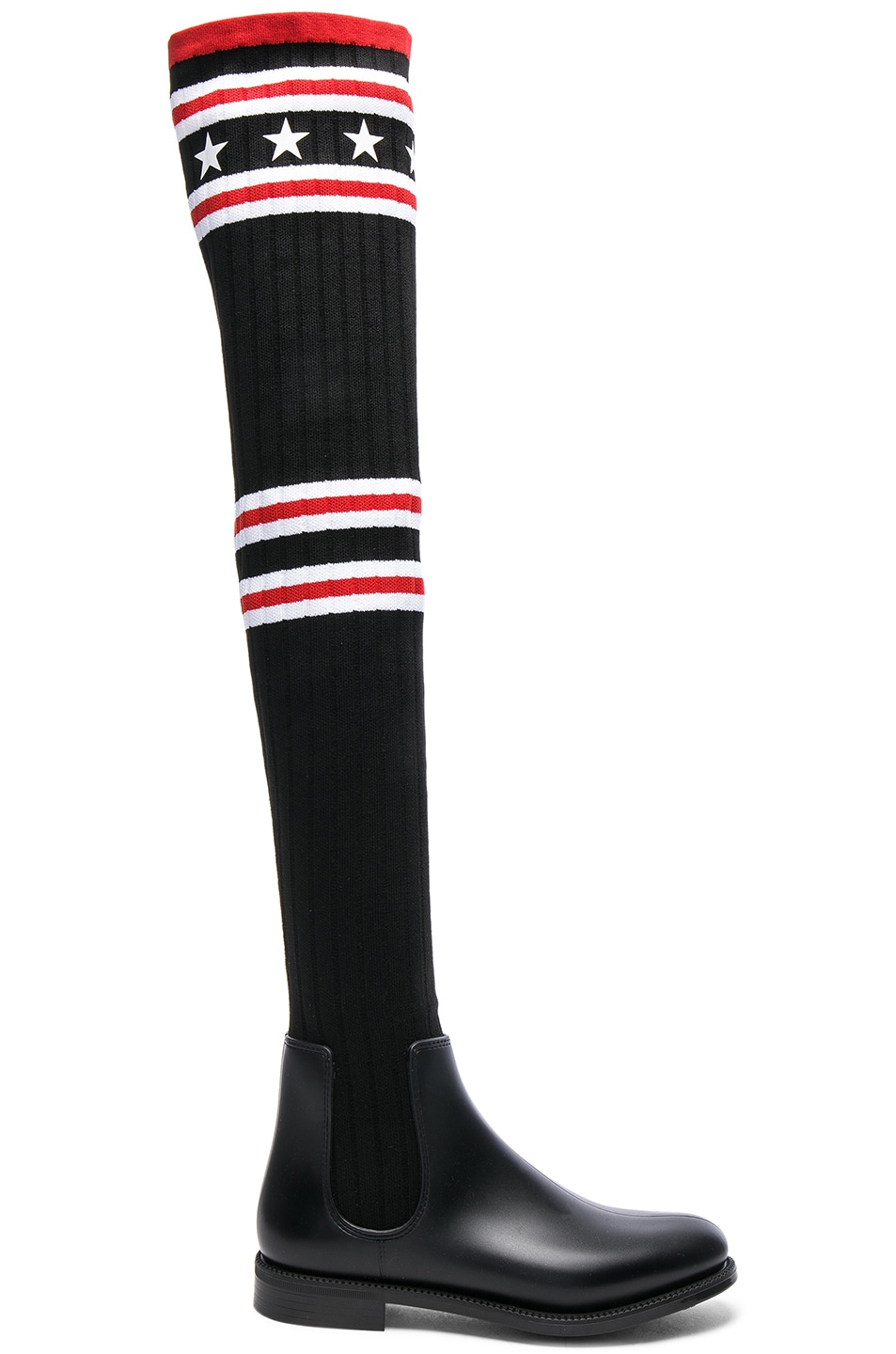 ef67153155a Image 1 of Givenchy Rib Knit Over The Knee Sock Boots in Black   Red