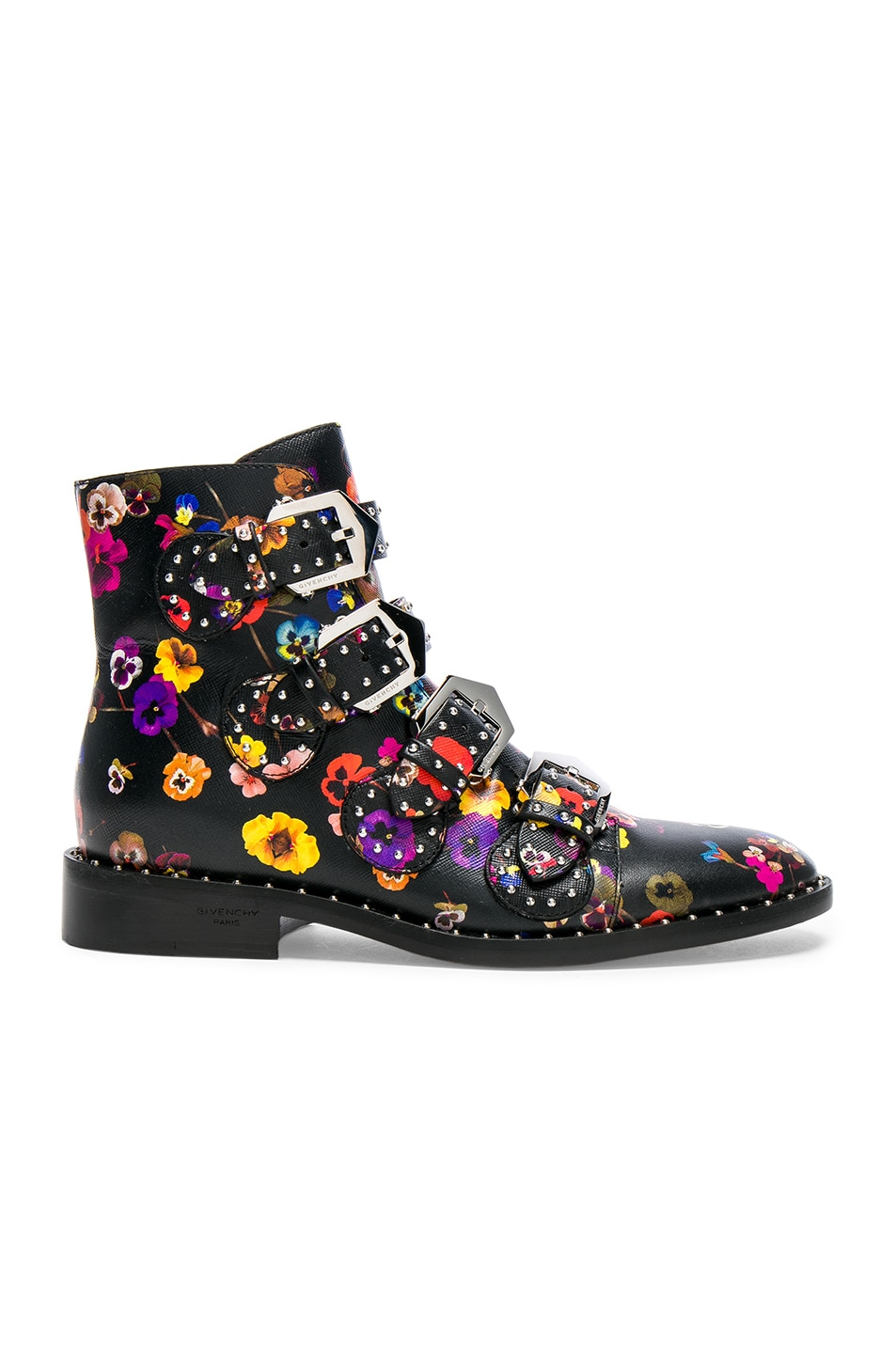 Image 1 of Givenchy Night Pansies Elegant Studded Leather Ankle Boots in Multi