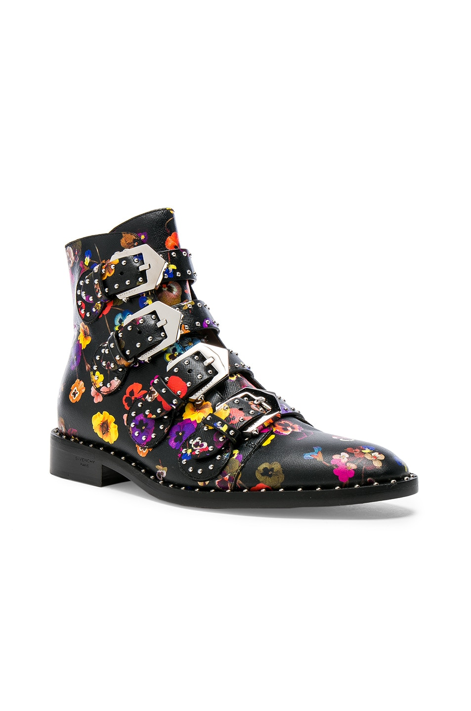 Image 2 of Givenchy Night Pansies Elegant Studded Leather Ankle Boots in Multi
