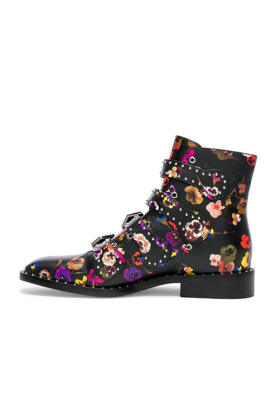 Image 5 of Givenchy Night Pansies Elegant Studded Leather Ankle Boots in Multi