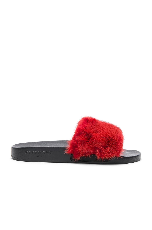 Image 1 of Givenchy Mink Fur Slides in Red