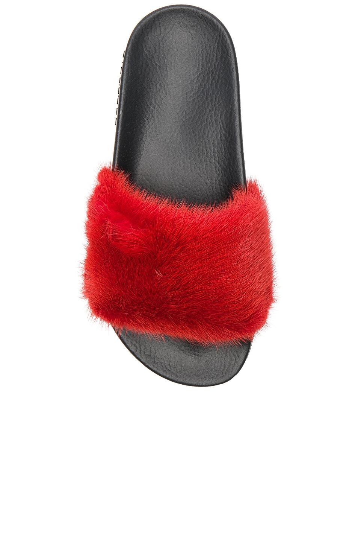 Image 4 of Givenchy Mink Fur Slides in Red