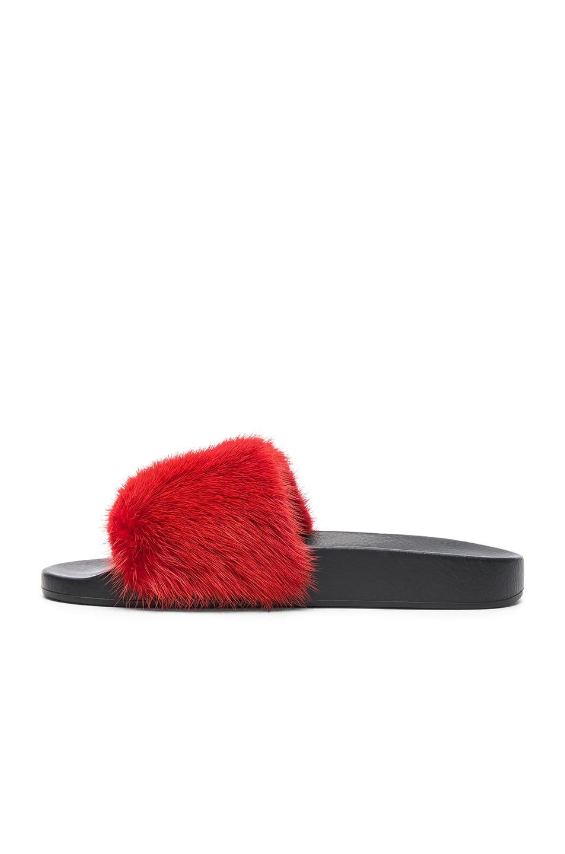 Image 5 of Givenchy Mink Fur Slides in Red
