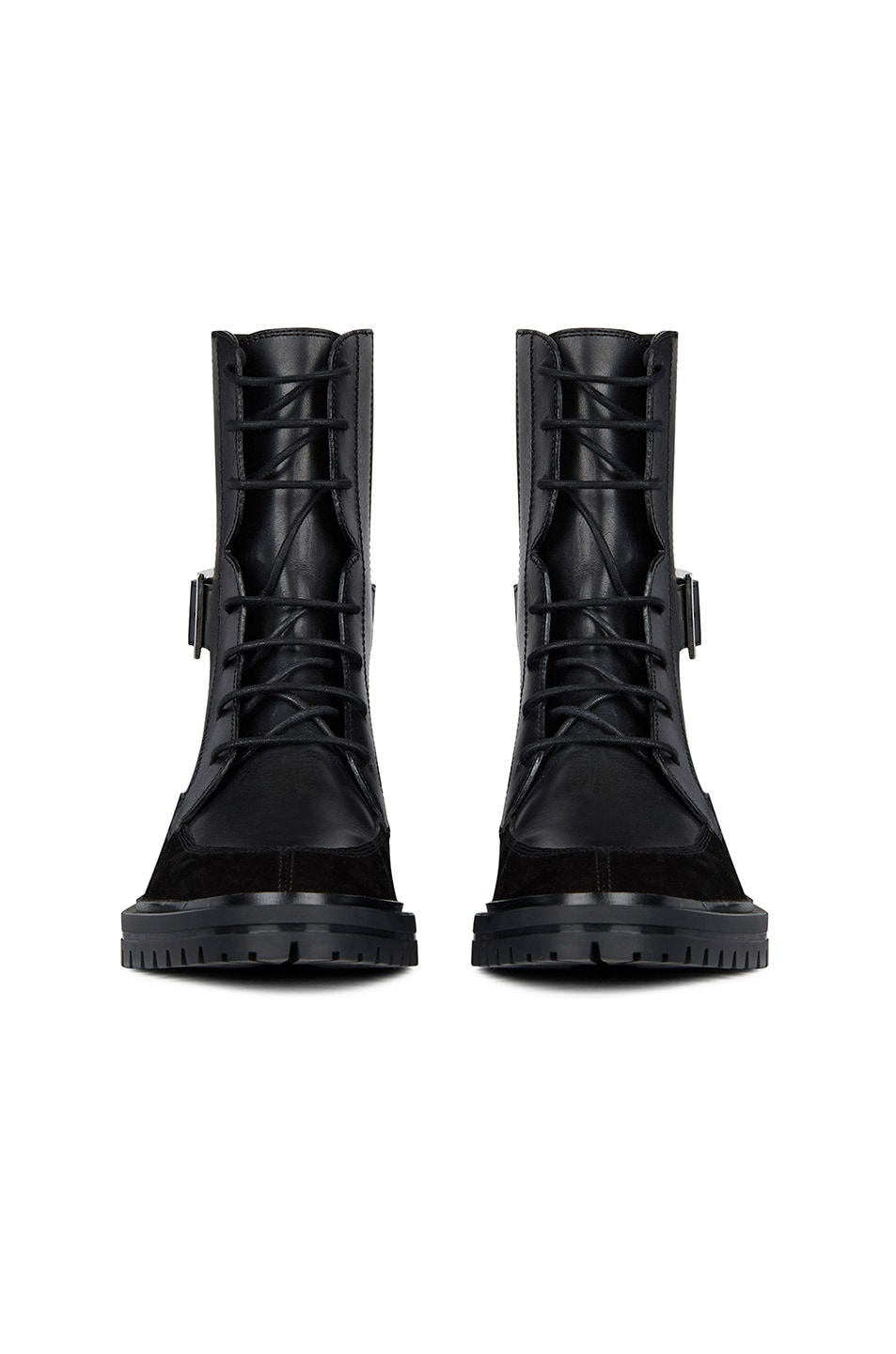 Image 2 of Givenchy Leather & Suede Aviator Lace Up Ankle Boots in Black