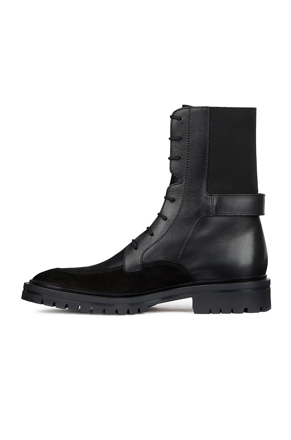 Image 4 of Givenchy Leather & Suede Aviator Lace Up Ankle Boots in Black