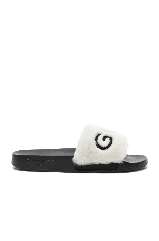 Image 2 of Givenchy Lamb Shearling Logo Slides in White & Black