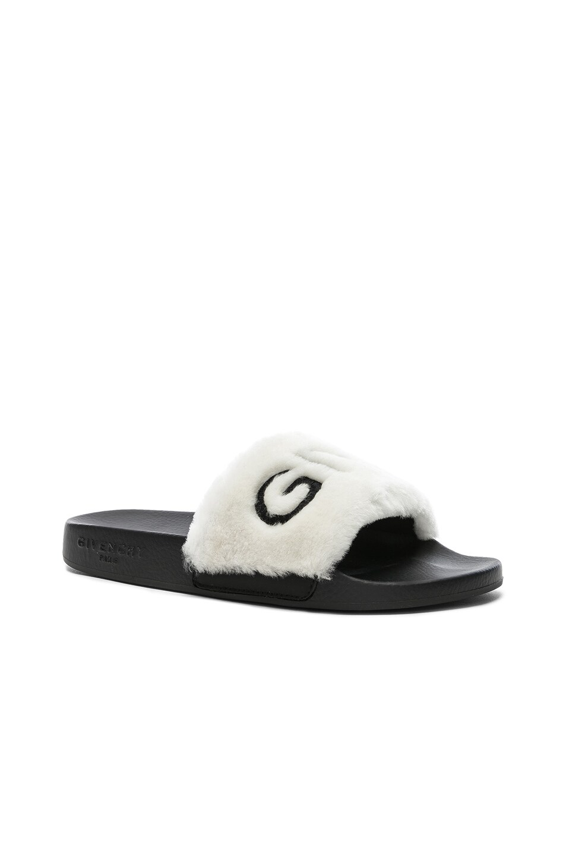 Image 3 of Givenchy Lamb Shearling Logo Slides in White & Black