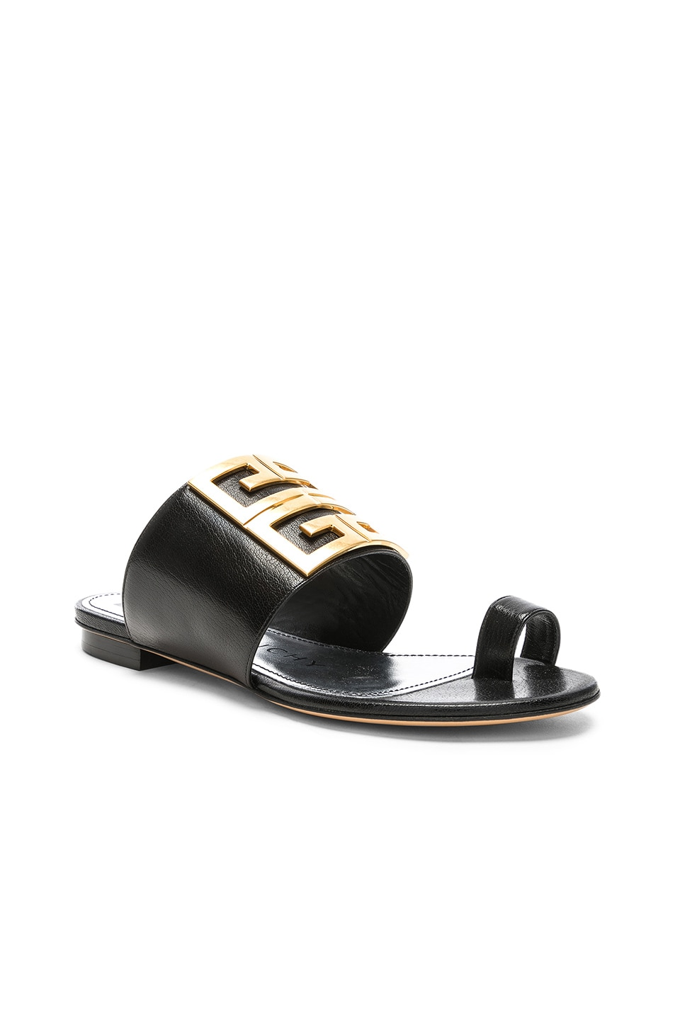 Image 3 of Givenchy Logo Flat Sandals in Black