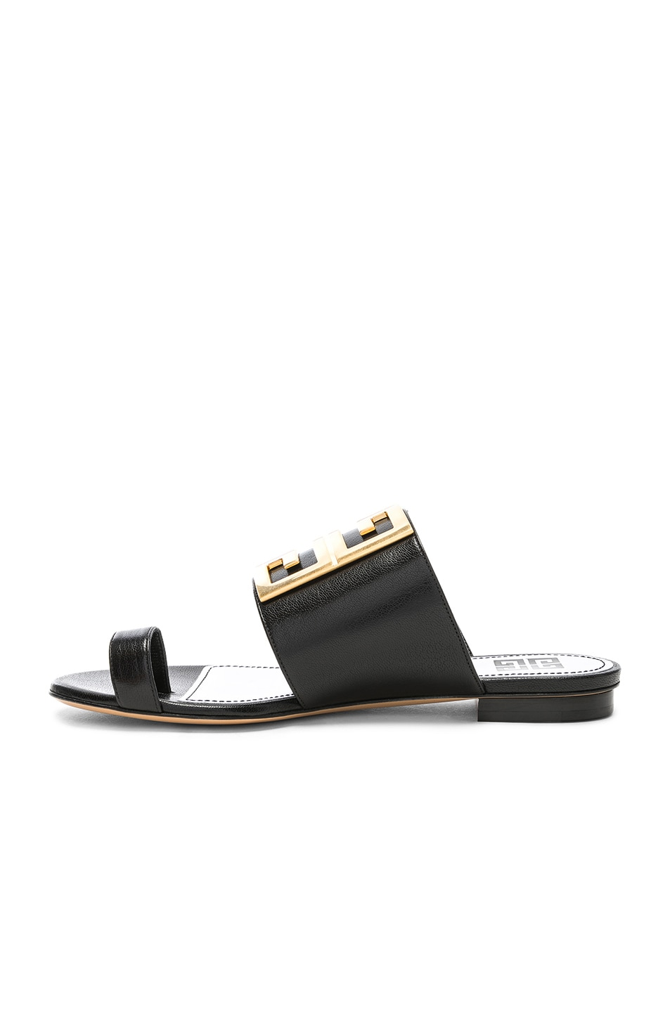 Image 5 of Givenchy Logo Flat Sandals in Black
