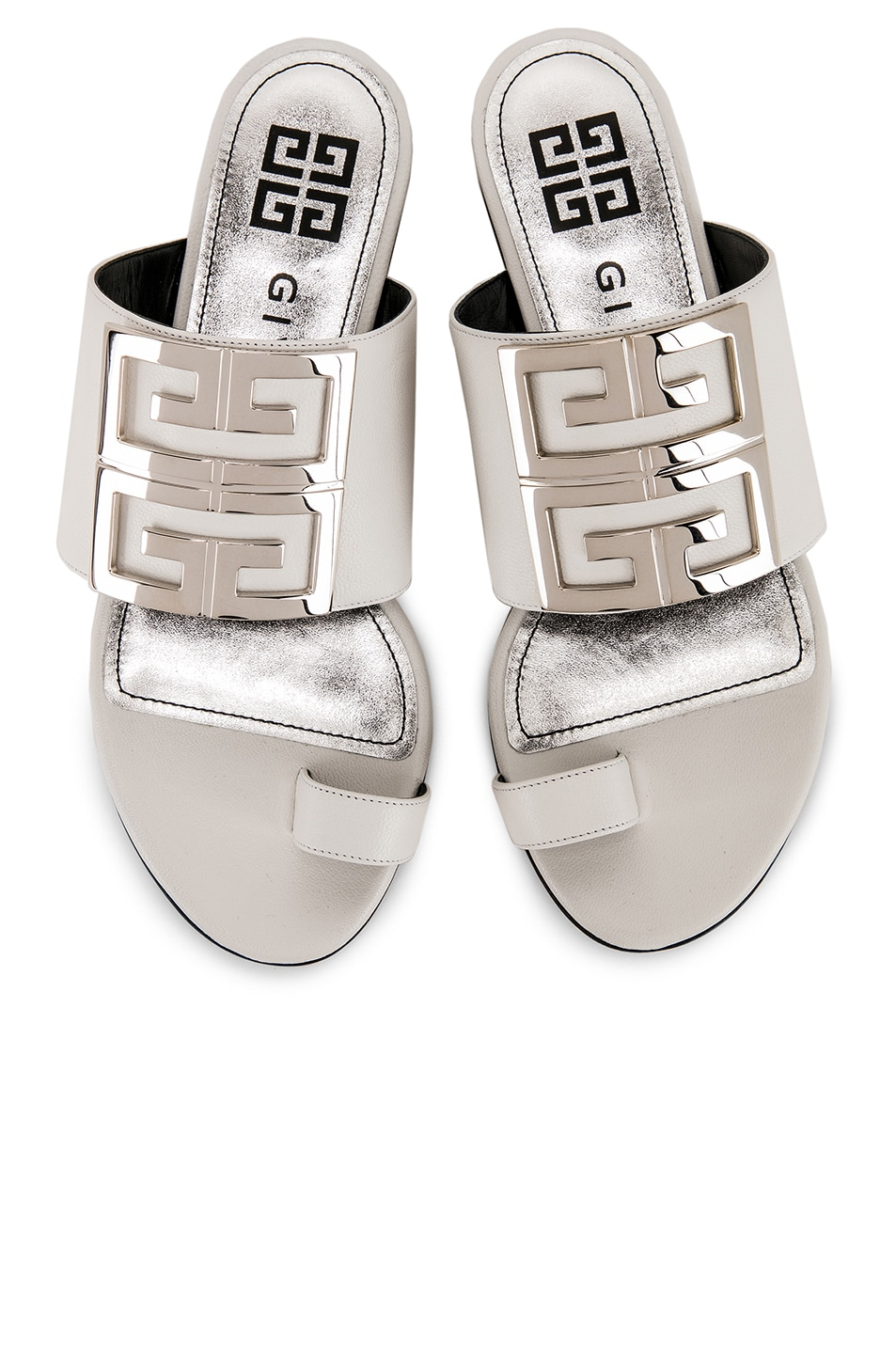 Image 1 of Givenchy Logo Flat Sandals in White
