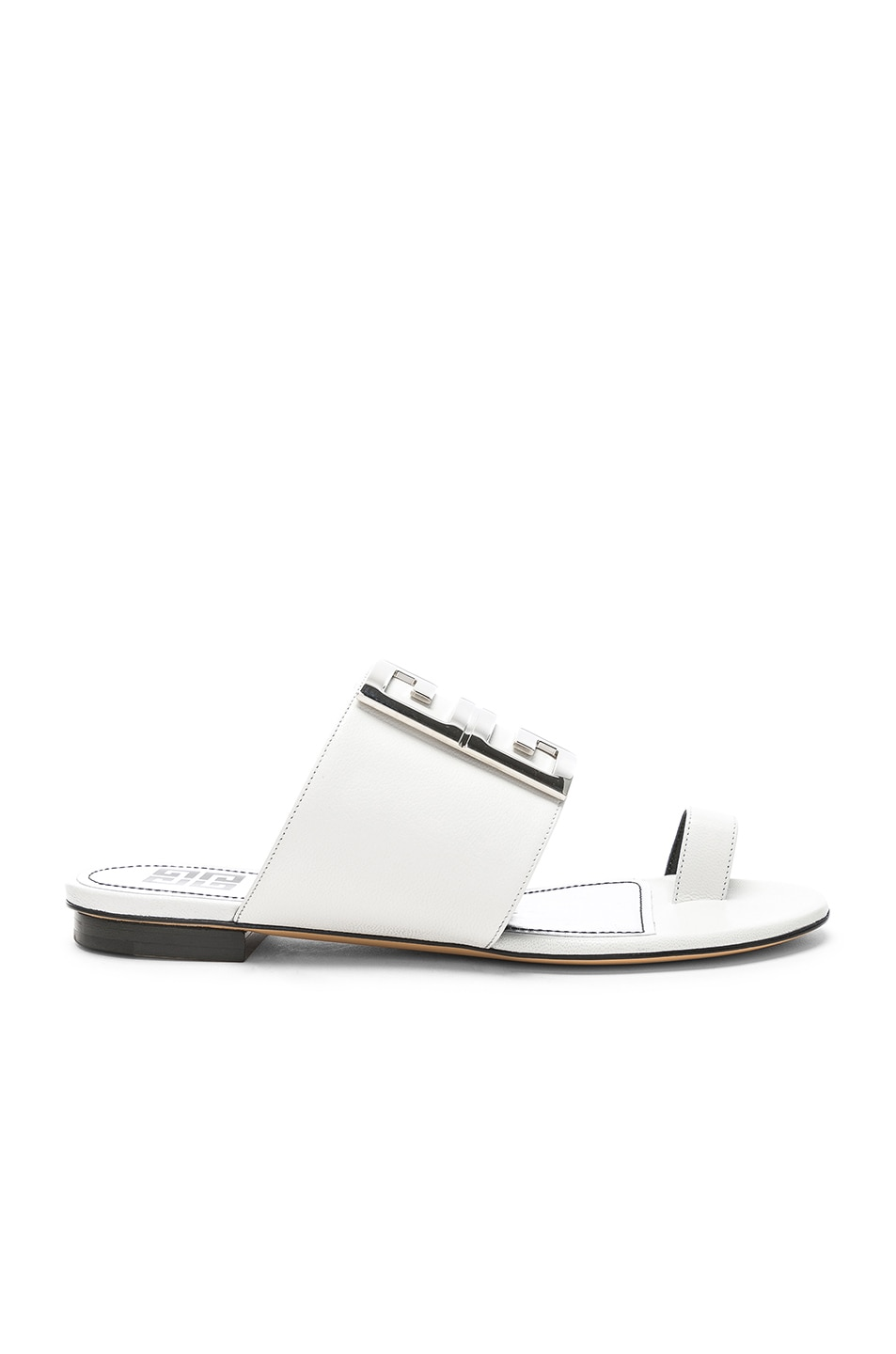Image 2 of Givenchy Logo Flat Sandals in White