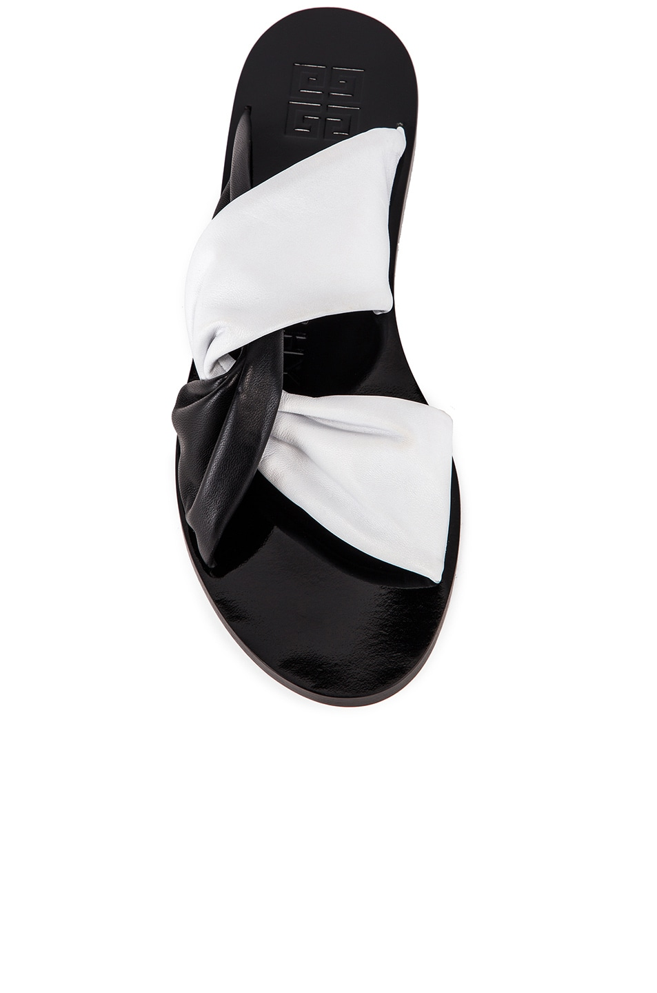 Image 4 of Givenchy Tie Flat Sandals in Black & White