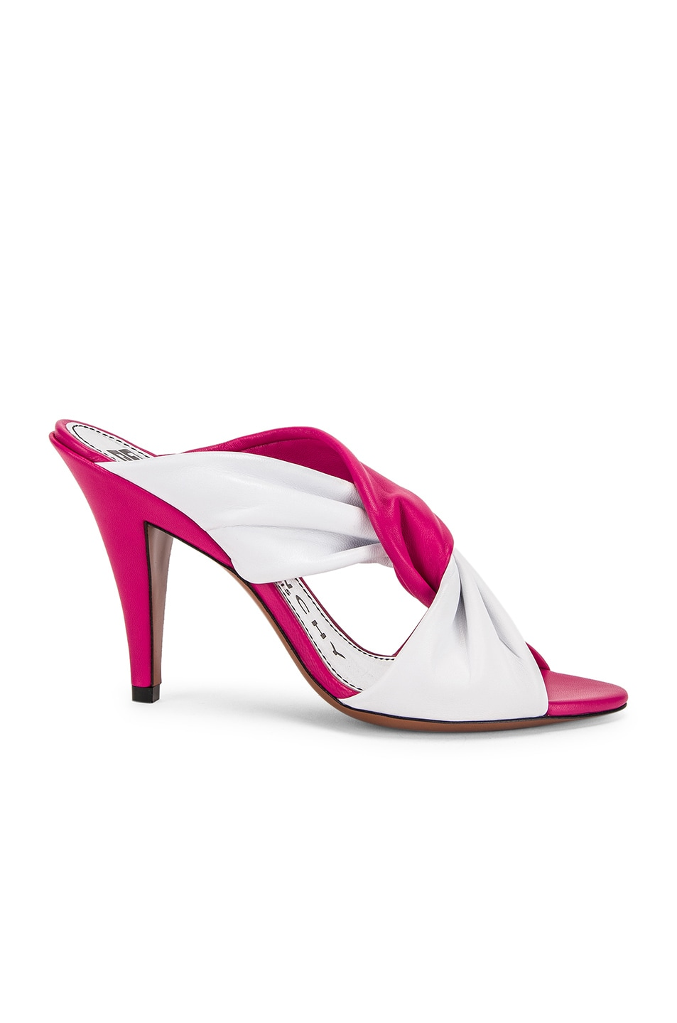 Image 1 of Givenchy Tie Heel Mules in White & Cyclamen