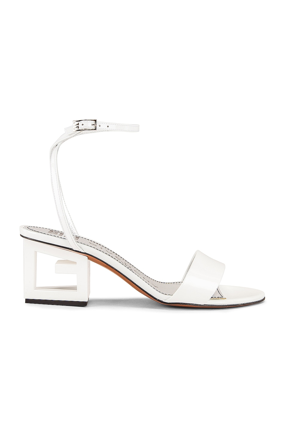 Image 1 of Givenchy Patent Leather Triangle Heel Strap Sandals in Off White