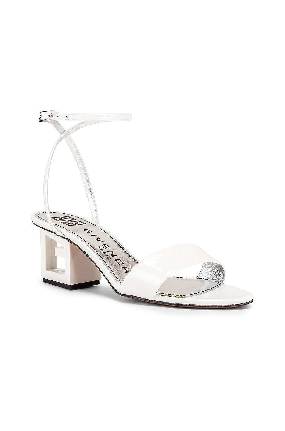 Image 2 of Givenchy Patent Leather Triangle Heel Strap Sandals in Off White