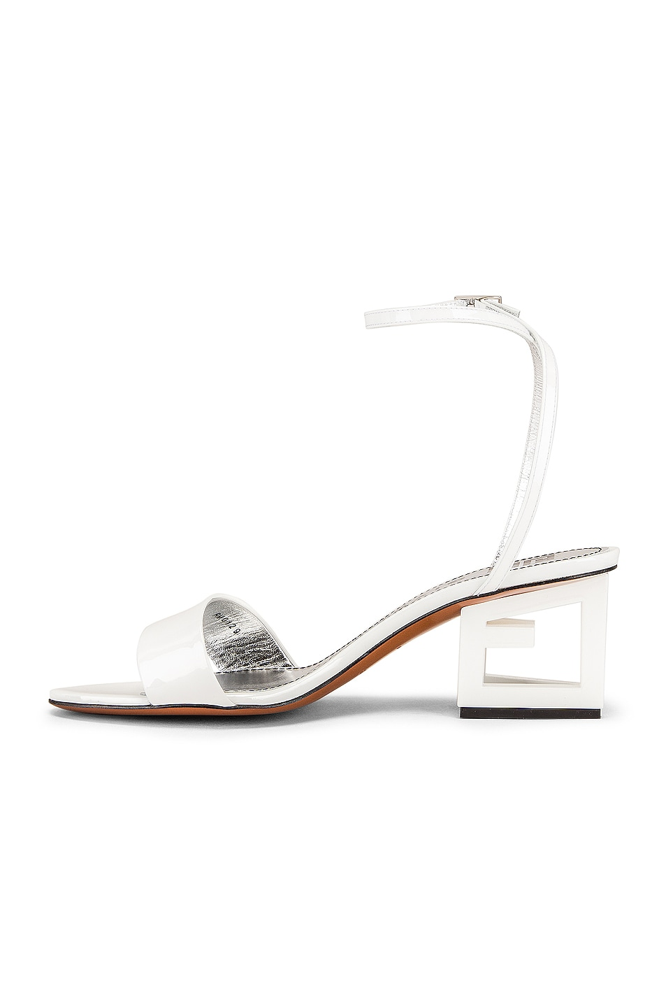 Image 5 of Givenchy Patent Leather Triangle Heel Strap Sandals in Off White