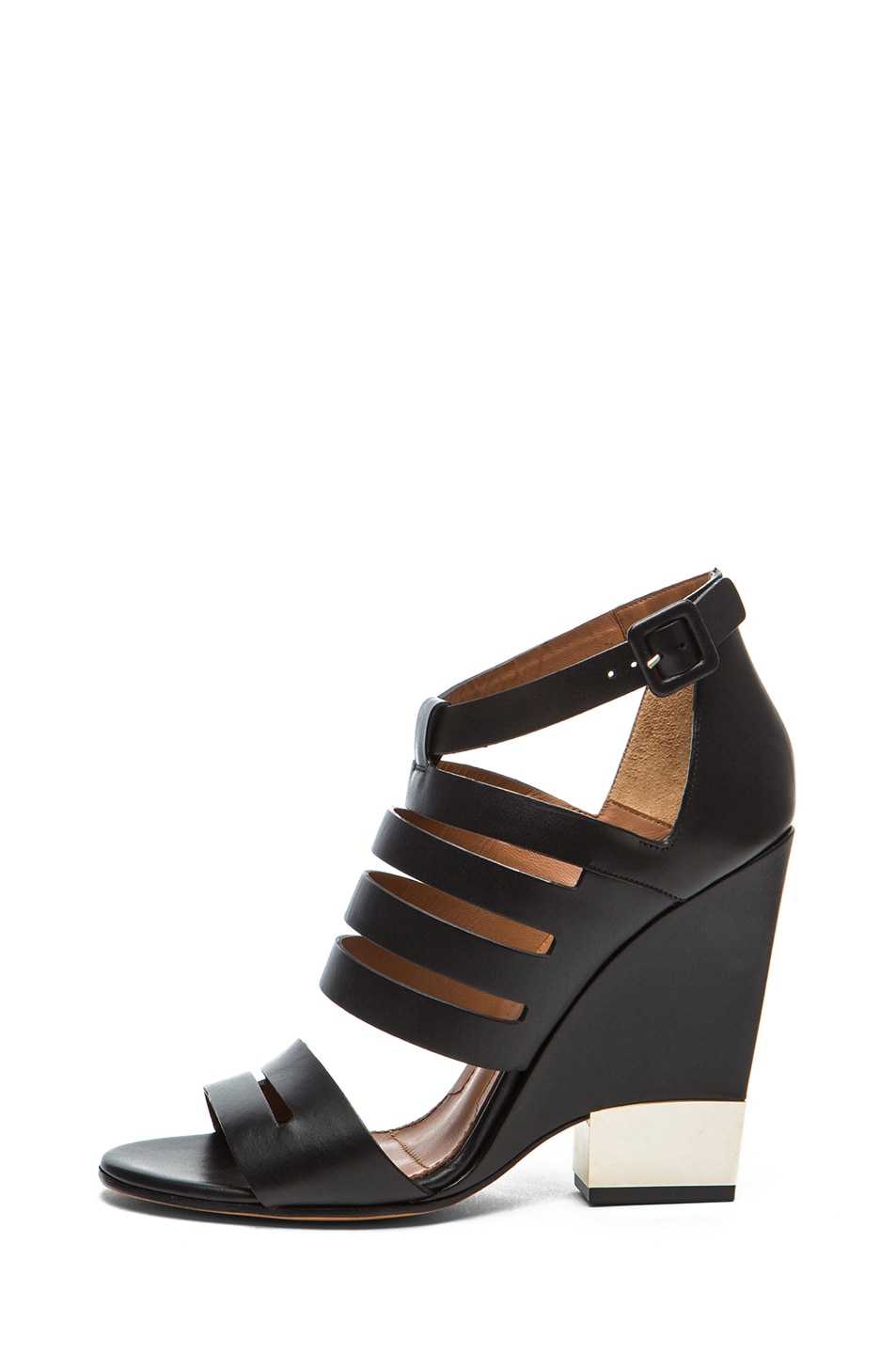 Image 1 of GIVENCHY New Wan Calfskin Leather Bondage Heels in Black