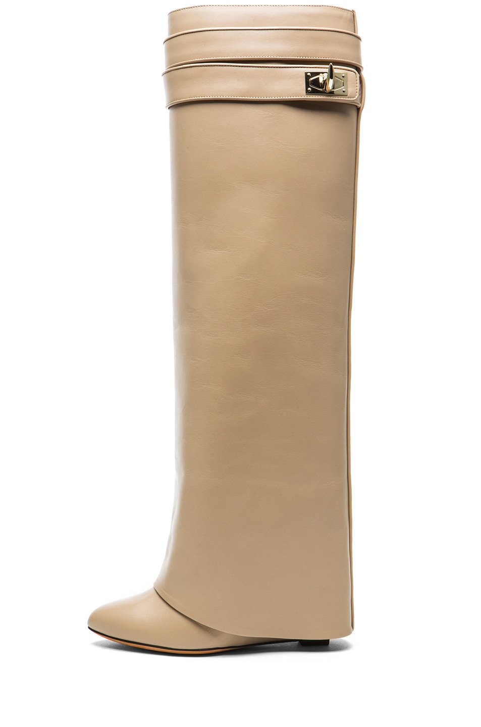 Image 1 of GIVENCHY Shark Lock Calfskin Leather Wedge Knee Boot in Camel