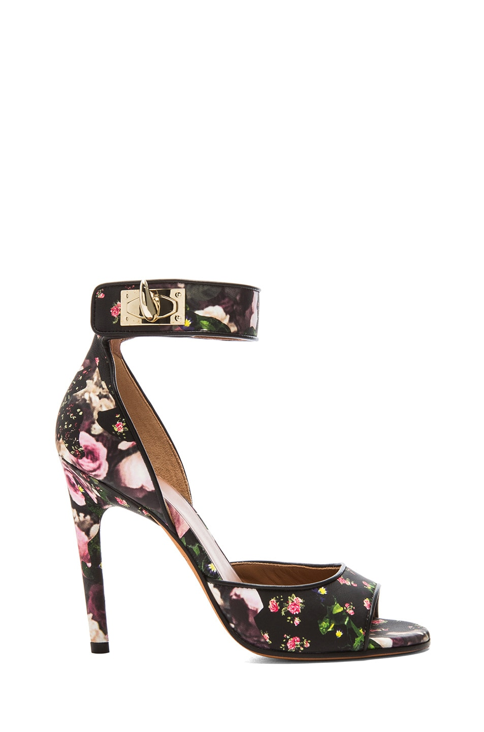 Image 1 of GIVENCHY Shark Lock Floral Nappa Leather Sandals in Multi