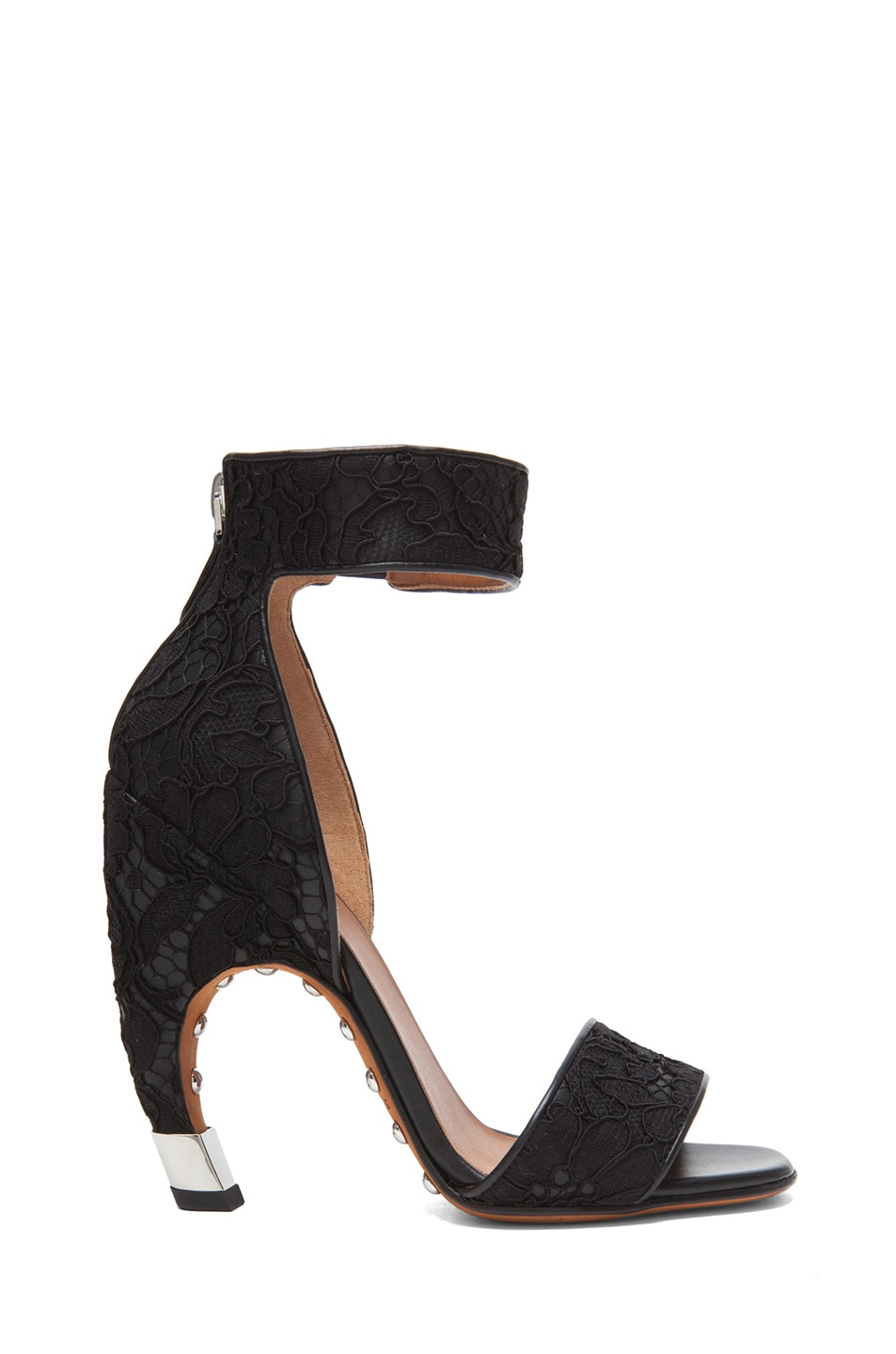 Image 1 of Givenchy Lace & Leather Heels in Black