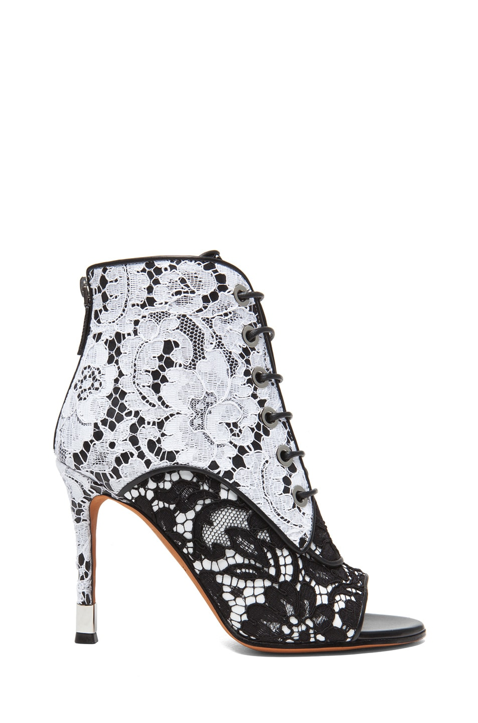 Image 1 of GIVENCHY Lace & Leather Open Toe Booties in Black & White
