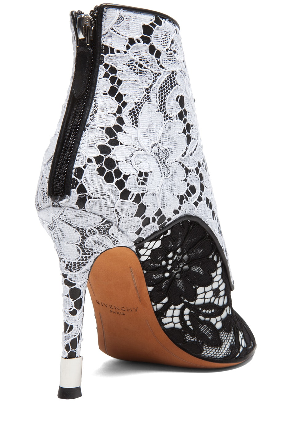 Image 3 of GIVENCHY Lace & Leather Open Toe Booties in Black & White