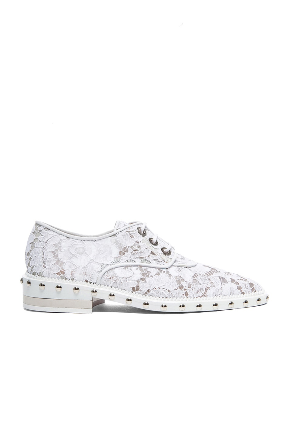 Image 1 of GIVENCHY Lace and Mesh Derby Shoes in White