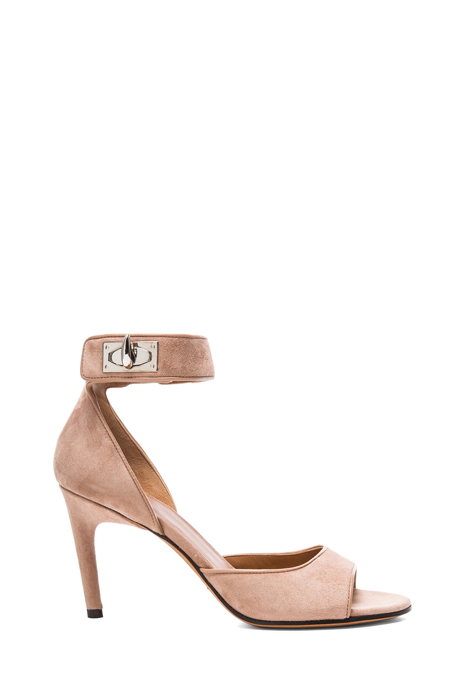 Image 1 of GIVENCHY Conan Shark Lock Suede Sandals in Rosewood