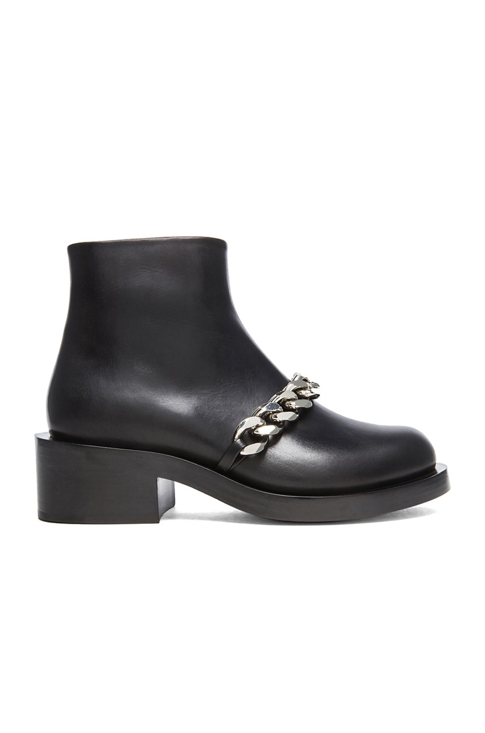 Image 1 of GIVENCHY Laura Leather Silver Chain Ankle Boots in Black