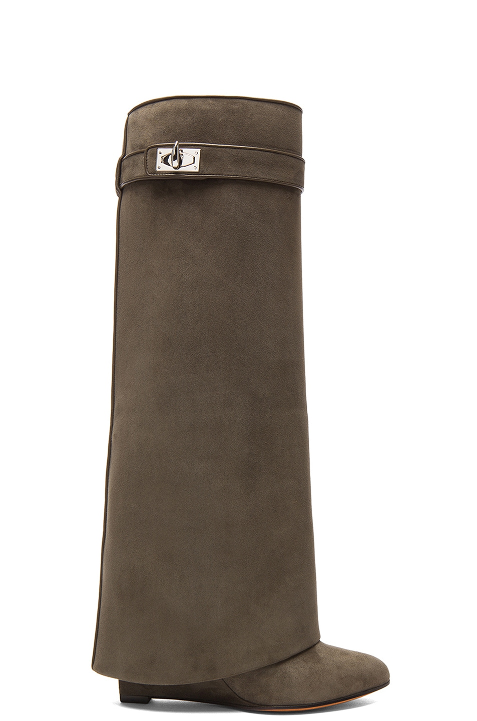 Image 1 of Givenchy Shark Lock Tall Suede Pant Boots in Khaki