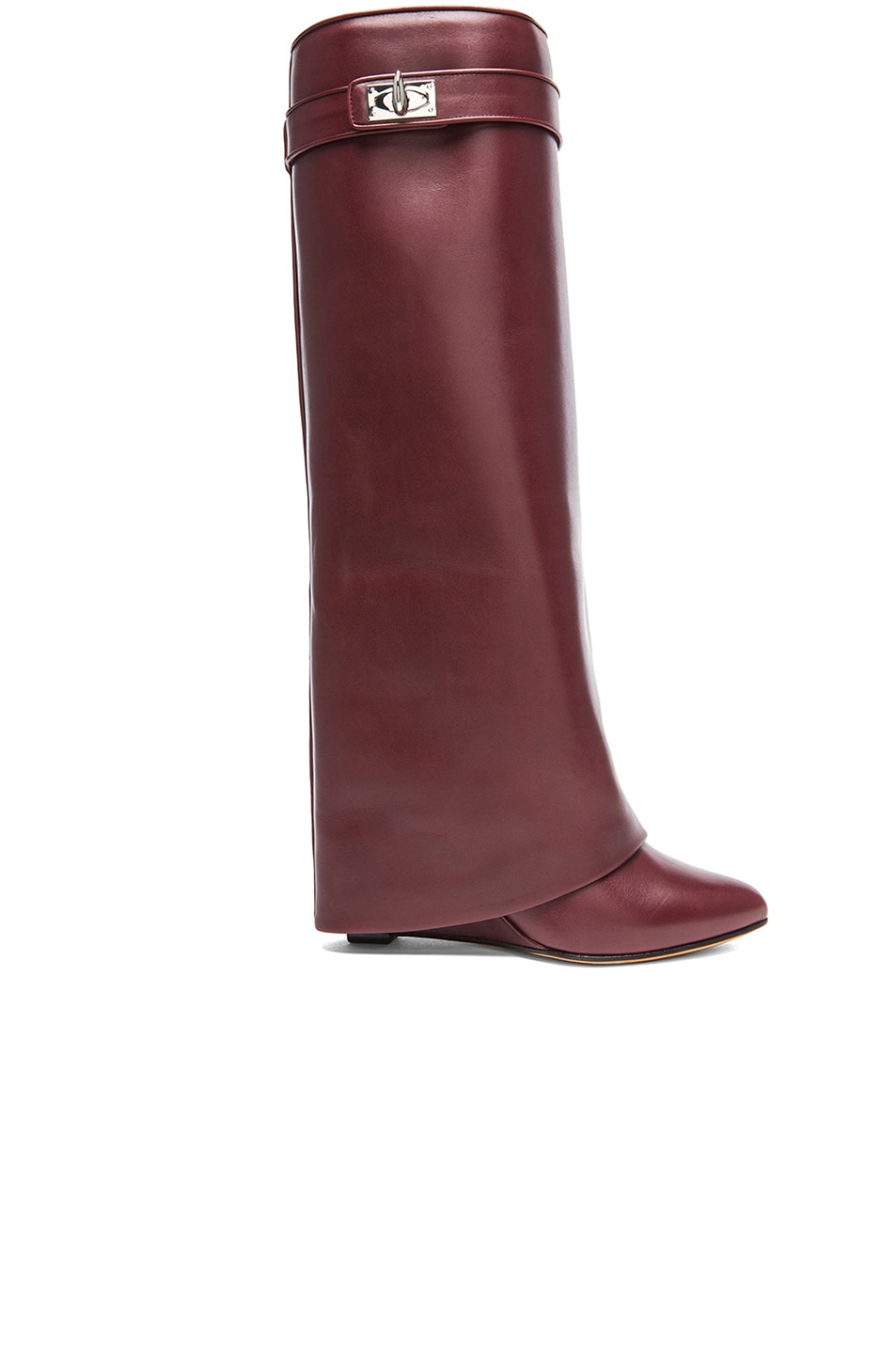 Image 1 of GIVENCHY Shark Lock Tall Leather Pant Boots in Burgundy