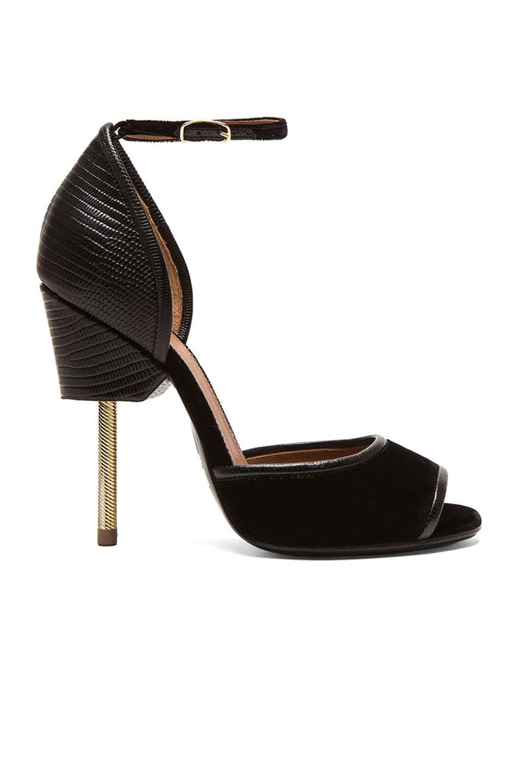 Image 1 of Givenchy Matilda Leather & Velvet Sandal in Black