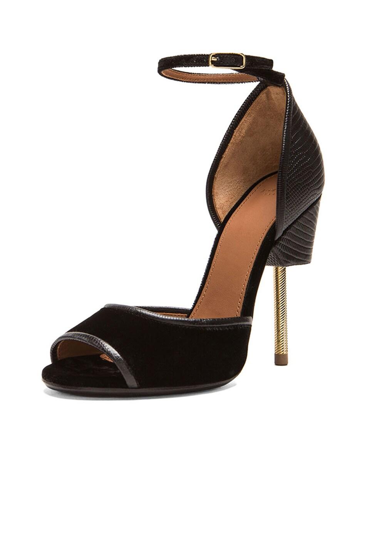 Image 2 of Givenchy Matilda Leather & Velvet Sandal in Black