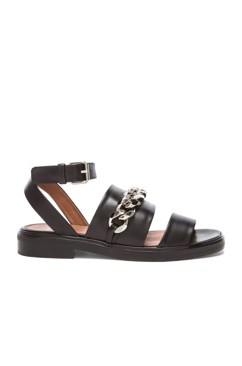 Image 1 of GIVENCHY Chain Leather Flat Sandals in Black