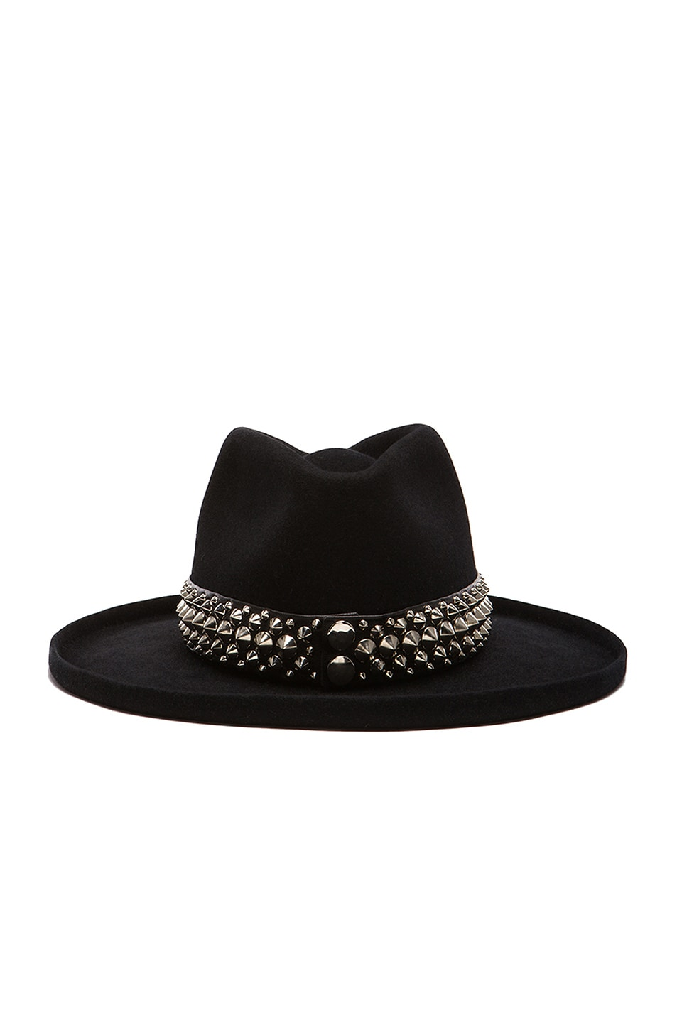 Image 4 of Gladys Tamez Millinery The Johnny Hat with Studded Band in Black