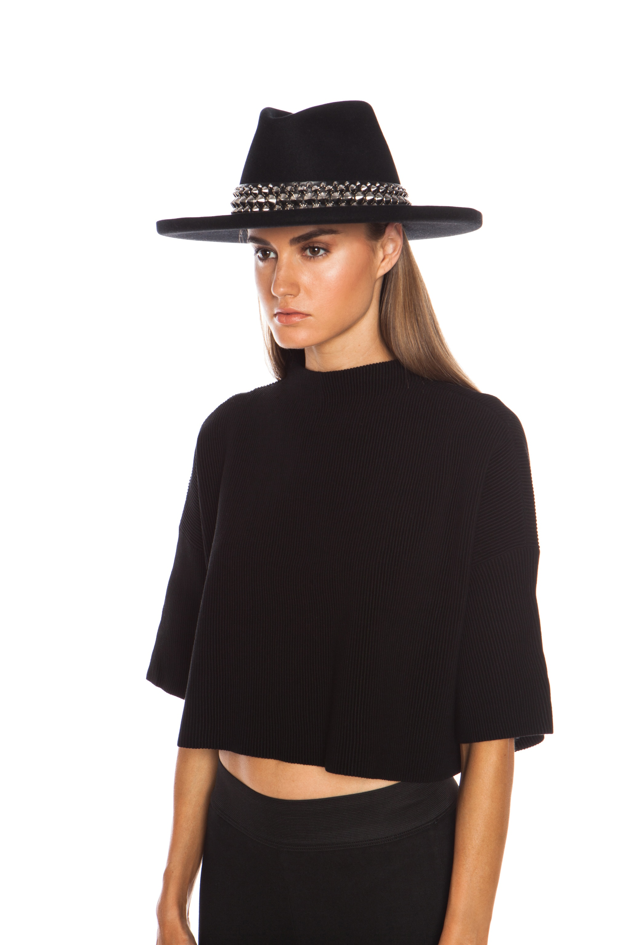 Image 5 of Gladys Tamez Millinery The Johnny Hat with Studded Band in Black