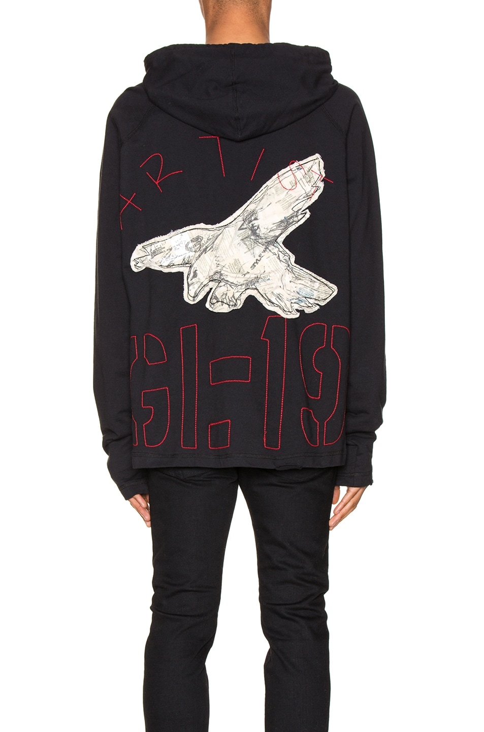 Image 5 of Greg Lauren Artist Hoodie in Black