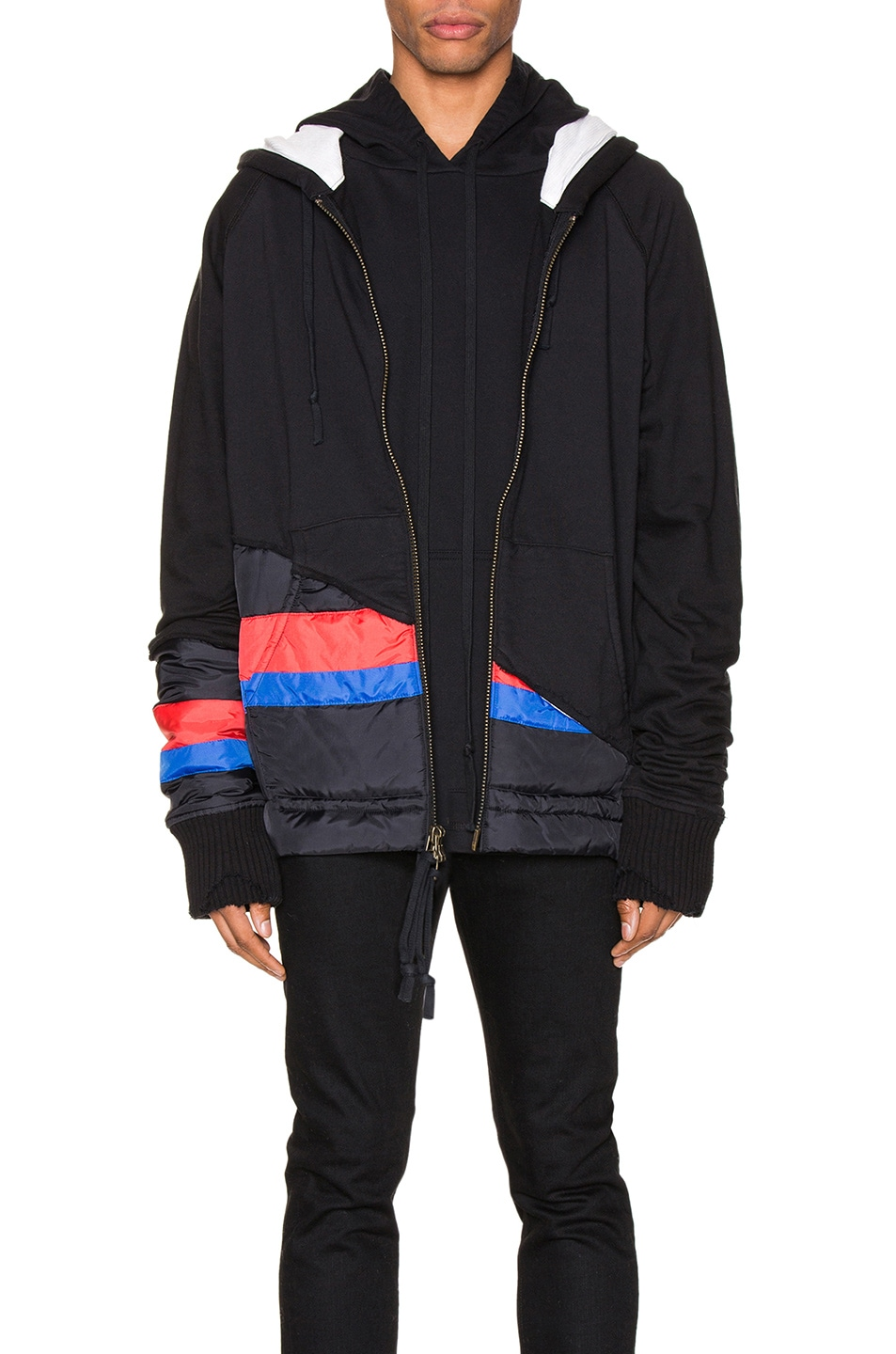 Image 1 of Greg Lauren 50/50 Puffy Striped Zip Hoodie in Black