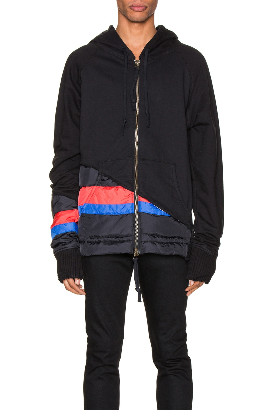 Image 2 of Greg Lauren 50/50 Puffy Striped Zip Hoodie in Black