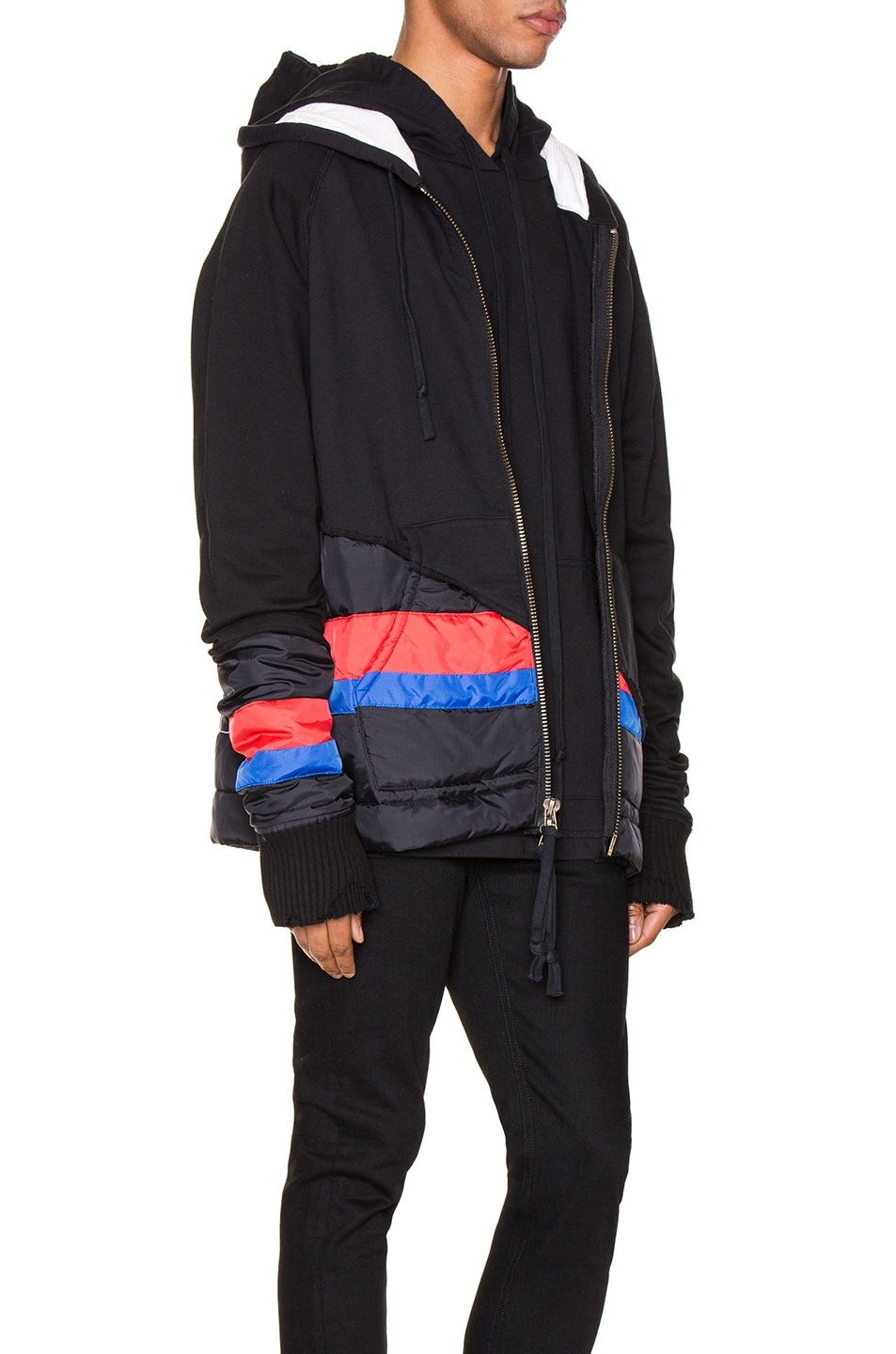 Image 3 of Greg Lauren 50/50 Puffy Striped Zip Hoodie in Black