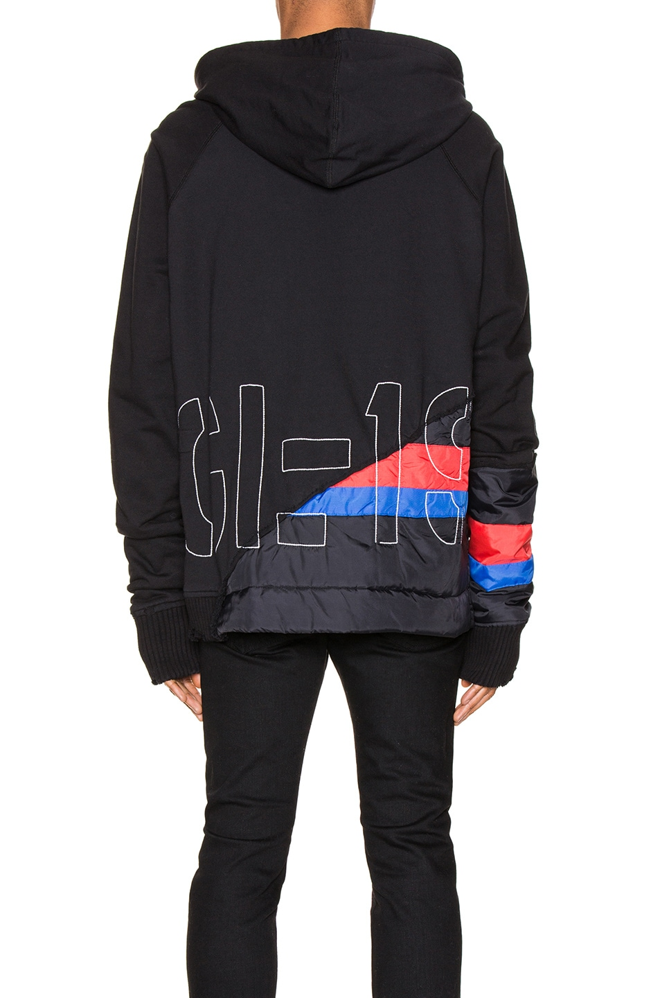 Image 5 of Greg Lauren 50/50 Puffy Striped Zip Hoodie in Black