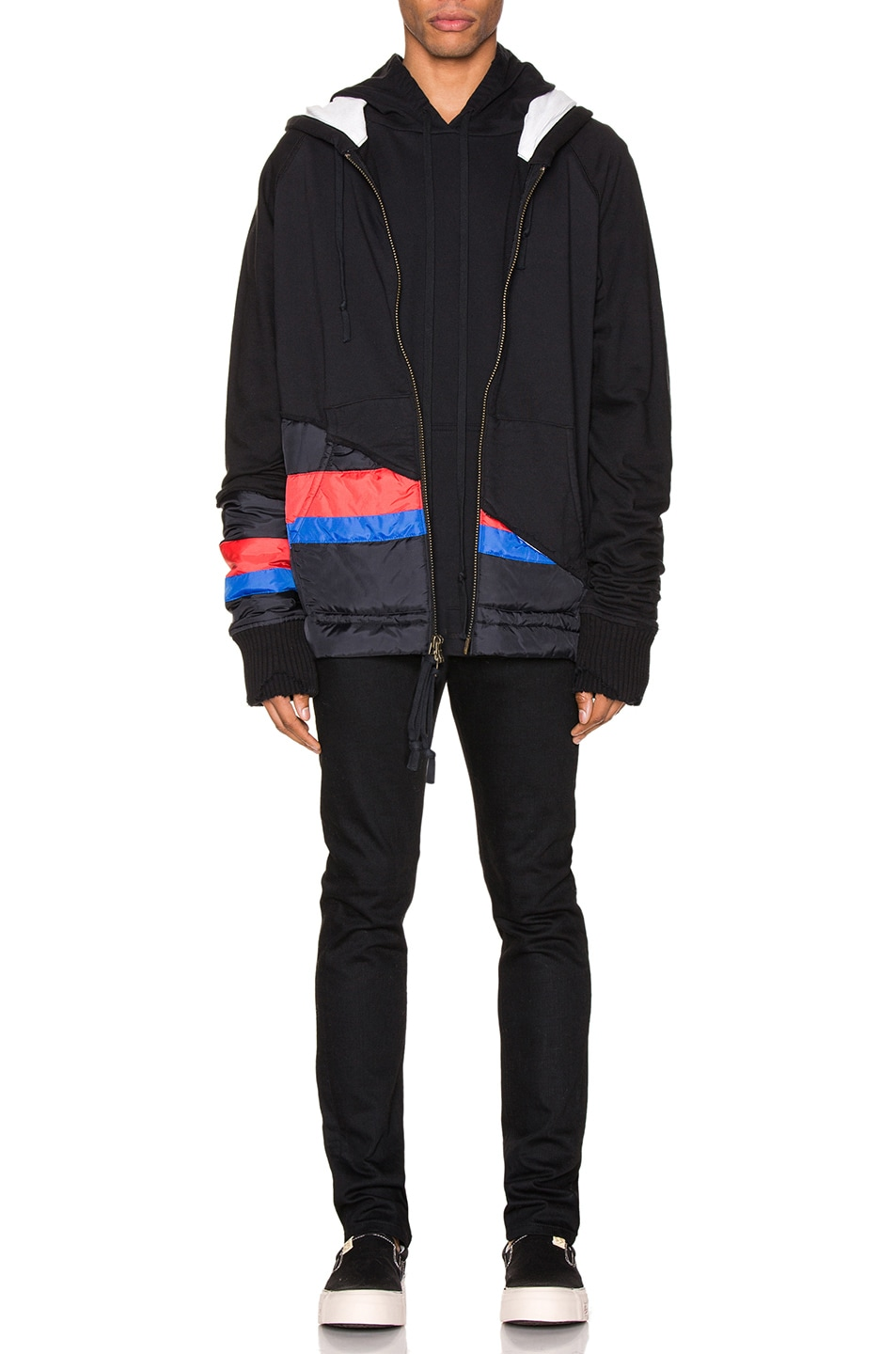 Image 6 of Greg Lauren 50/50 Puffy Striped Zip Hoodie in Black